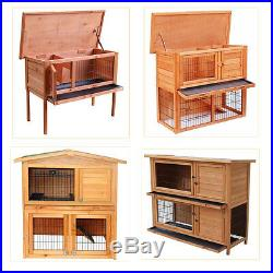 New 36 40 48 Wooden Rabbit Hutch Chicken Coop Hen House Poultry Pet Cage