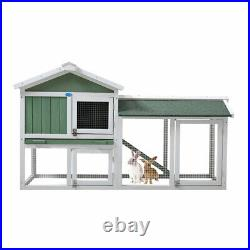 New 58 Chicken Coop Wooden Bunny Rabbit Hutch withRamp with Run Hen Coop House
