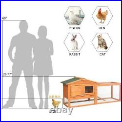 New 61 Wooden Rabbit House Hutch Chicken Coop Cage with Tray Run Animal