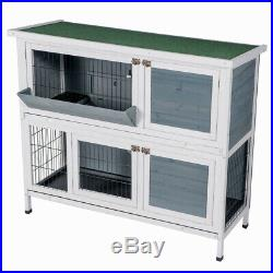 New Two Floors Wooden Outdoor Indoor Bunny Hutch Rabbit Cage with Feeding Trough