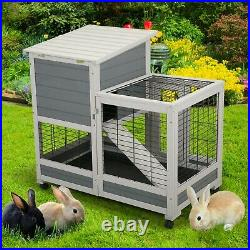 New Wooden Rabbit Hutch Small Pet Hamster House Bunny Coop House with Run&Tray
