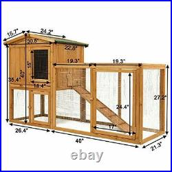 Ogrmar Chicken Coop Large Wooden Outdoor Bunny Rabbit Hutch Hen Cage with Ventil