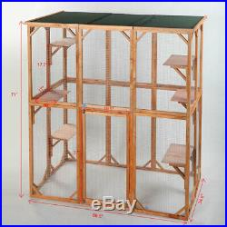 Outdoor Cat Catio House Pet Run Large Wooden House Sanctuary Covered Enclosure