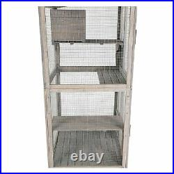 Outdoor/Indoor Wooden Cat house Run for Cats Cat Catio Cage with 4 wheels