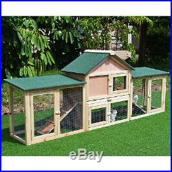Outdoor Patio Wooden Rabbit Hutch Bunny House With Run Ladder Natural Wood Colour