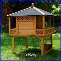 Outdoor Rabbit Hutch Guinea Pig Pagoda Large Wooden With Run Spacious Patio