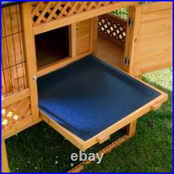 Outdoor Rabbit Hutch Pagoda Style Run Wooden Spacious Sturdy Best Quality Tray
