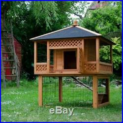 Outdoor Rabbit Hutch With Run Spacious Patio Guinea Pig Pagoda Large Wooden