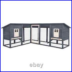 Outdoor Wooden Hutch Solid Fir Galvanised Grey and White With Rabbit Run Cage