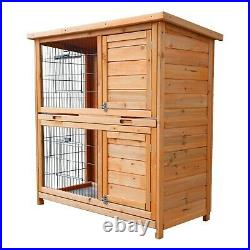 Outdoor Wooden Rabbit Hutch Pet Cage With Run Asphalt Roof Bunny Animal House