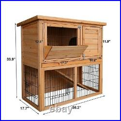 Outdoor Wooden Rabbit Hutch Pet Cage With Run Asphalt Roof Bunny Animal House USA