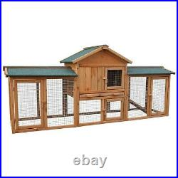 Outdoor Wooden Rabbit Hutch Small Animal House Pet Cage With 2 Runs Bunny House