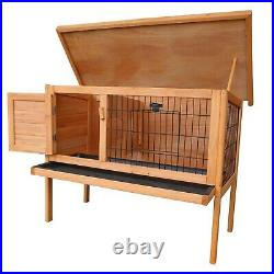 Outdoor Wooden Rabbit Hutch Small House Pet Cage With 2 Runs Bunny House