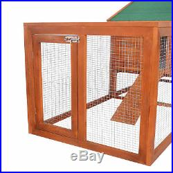 PawHut 122 Large Wooden Rabbit Hutch Chicken Coop House Habitat with Ramp Run