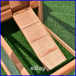 PawHut 122 Outdoor Wooden Rabbit Hutch Small Animal Enclosure With Outdoor Runs