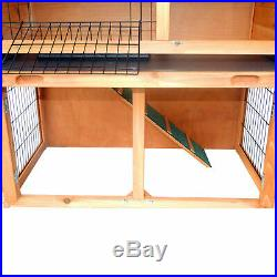 PawHut 40'' Wooden Rabbit Hutch A-Frame Pet Cage Wood Small House Chicken Coop