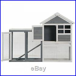 PawHut 48 Weatherproof Wooden Rabbit Hutch with Slant Roof and Outdoor Run, Grey