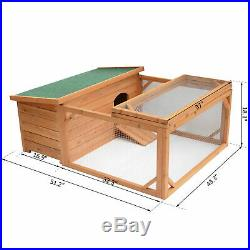 PawHut 49.2 Wood Chicken Coop Wooden Rabbit Hutch Poultry House with Run