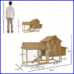 PawHut 59 Wooden Outdoor Chicken Coop Hen House with Nesting Box and Run
