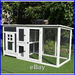 PawHut 63 Wooden Indoor Outdoor Covered Chicken Coop with Run Grey and White