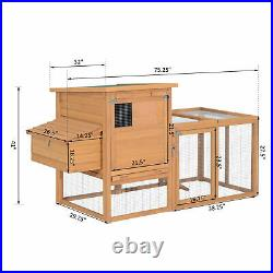 PawHut 75'' Wooden Poultry Chicken Coop Hen House with Egg Box Backyard Run
