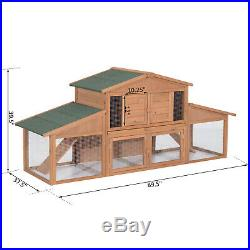 PawHut Deluxe Wooden Rabbit Hutch Large Cage Wood Hen House Chicken Coop New