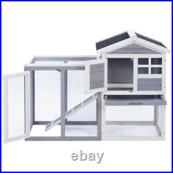 PawHut Rabbit Cage Hutch Large Wooden Chicken Coop Pet House Habitat with Ramp Run