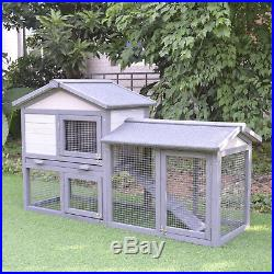 PawHut Raised Painted Wooden Backyard Chicken Coop Rabbit Hutch Enclosure Cage
