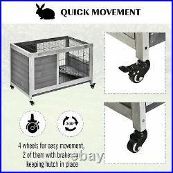PawHut Wooden Indoor Elevated Bunny Cage Small Animal House with Enclosed Run