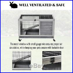 PawHut Wooden Indoor Elevated Bunny Cage Small Animal House with Enclosed Run With