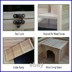 PawHut Wooden Rabbit Hutch Indoor Playpen with a Main Room for Sleeping