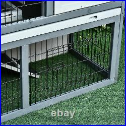 PawHut Wooden Rabbit Hutch with Upper House & Lower Play Area Bunny Small Animals