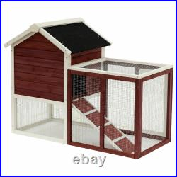 Pawhut 48 Wooden Chicken Coop Rabbit Hutch Bunny Cage Pet House with Ladder & Run