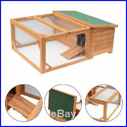 Pawhut 49.2 Chicken Coop Wooden Rabbit Hutch House Poultry Coup Coops WithRun