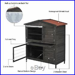 Pawhut 52 Fir Wooden Rabbit Hutch 2-Level Chicken Coop Small Animal Cage House