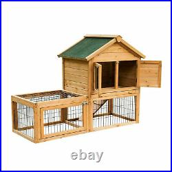 Pawhut 53'' Wooden Rabbit Hutch Chicken Coop Small Pet House Cages