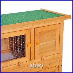 Pawhut 90 x 45 x 90 cm 2 Tiers Rabbit Hutch Wooden Pet Cage With Run Bunny House