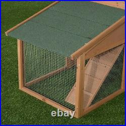 Pawhut 91-inch Wooden Rabbit Hutch/Chicken Coop with Large Outdoor Run