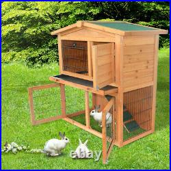 Pet Cat House Outdoor Wooden Rabbit Chicken Coop Hutch Cage Backyard with2 Layers