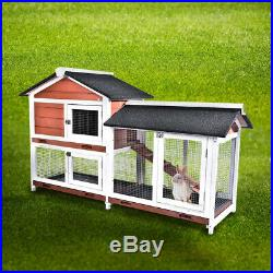 Pet Rabbi Wooden Cage Animal Guinea Pig Bunny Hutch with Ladder and Outdoor Run
