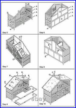 Pet Rabbit Hutch Wooden House Chicken Coop for Small Animals wooden house-grey