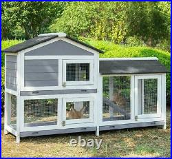 Pet Rabbit Hutch Wooden House Chicken for Small Animals in Grey Furniture USA