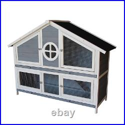 Pet Rabbit Hutch Wooden House Grey Chicken Coop for Small Animals