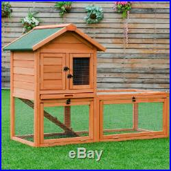 Pet Wooden House Rabbit Hutch Bunny Chicken Coops Cages with Tray Run Outdoor