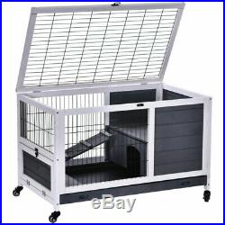 Portable Wooden Rabbit Guinea Hutch Elevated Indoor Outdoor Small Animal Cage
