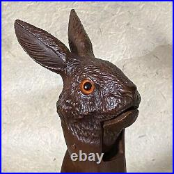RABBIT NUTCRACKER with Long Ears Antique Wooden Black Forest Carved, early 20thC