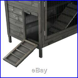 Rabbit Hutch 2 Tier Raised Wooden House Outdoor Small Animal Cage Pull Out Trays