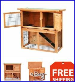 Rabbit Hutch Cage Indoor Outdoor 2 Tiers Wooden Small Pet Play Pen Exercise 36