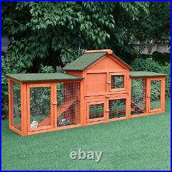 Rabbit Hutch Guinea Large Cage 83'' Wooden Deluxe Pet Run Cage Outdoor House