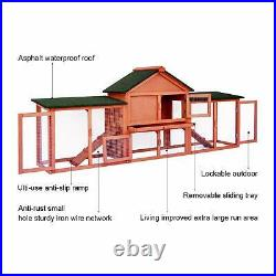 Rabbit Hutch Guinea Pig Cage 83'' Wooden Deluxe Pet Running Cage Outdoor House